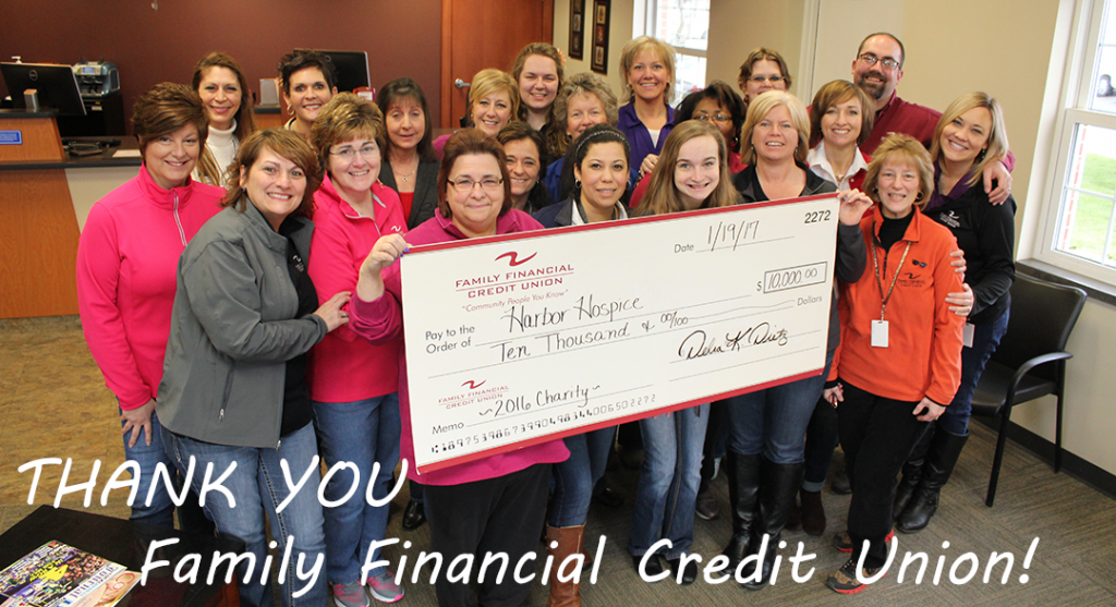 Harbor Hospice Staff holding giant check