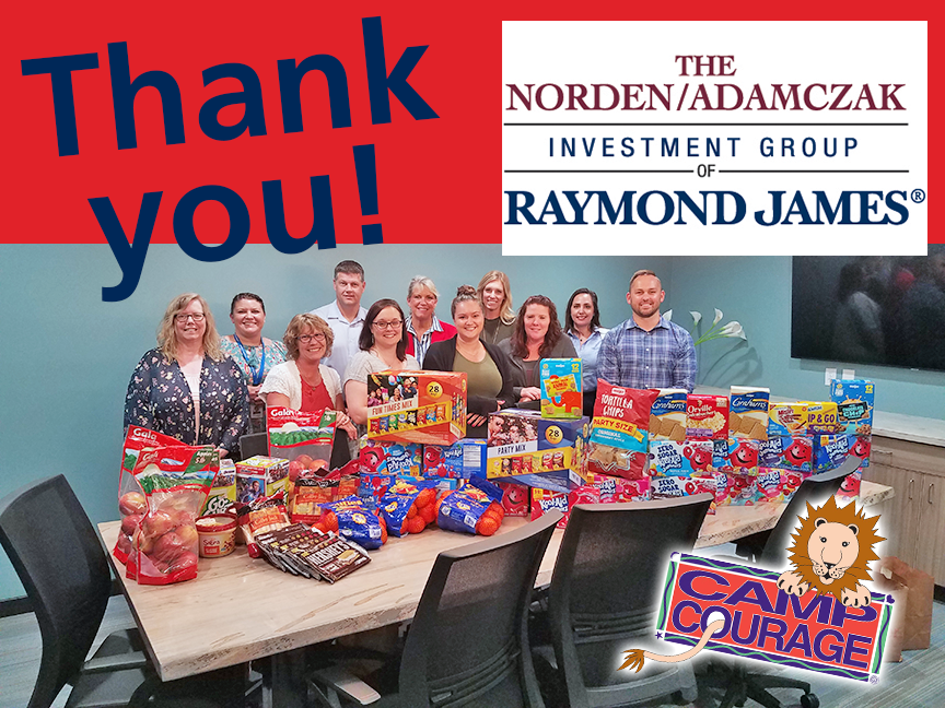Camp Snack Donation Raymond James2 6.17.19 - Thank You Norden/Adamczak Investment Group of Raymond James! A Caring Community